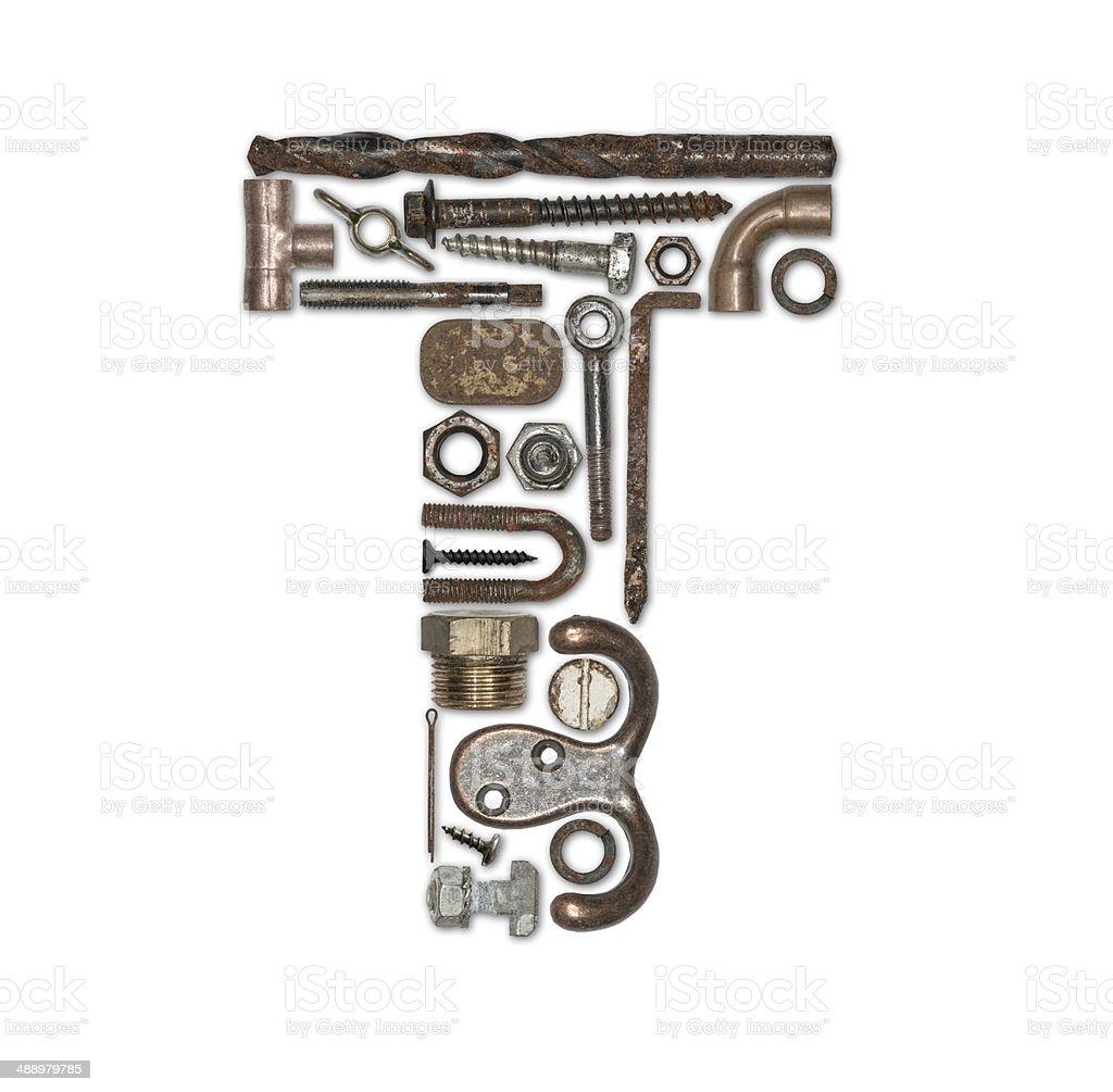 iron font T stock photo