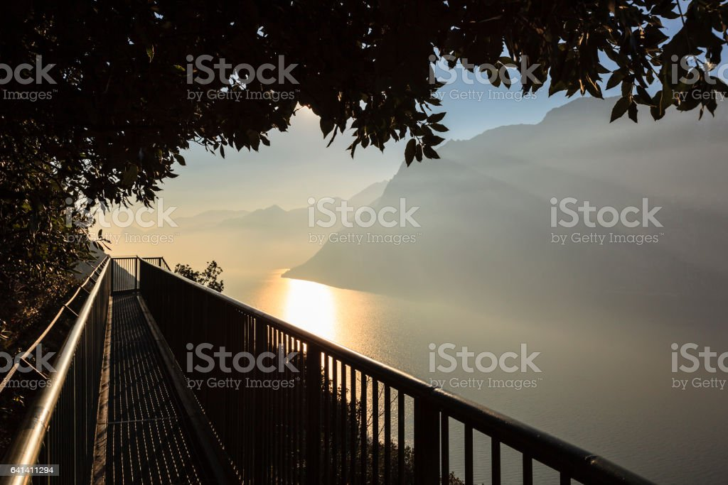 Iron Footway, Lake Garda - Italy stock photo