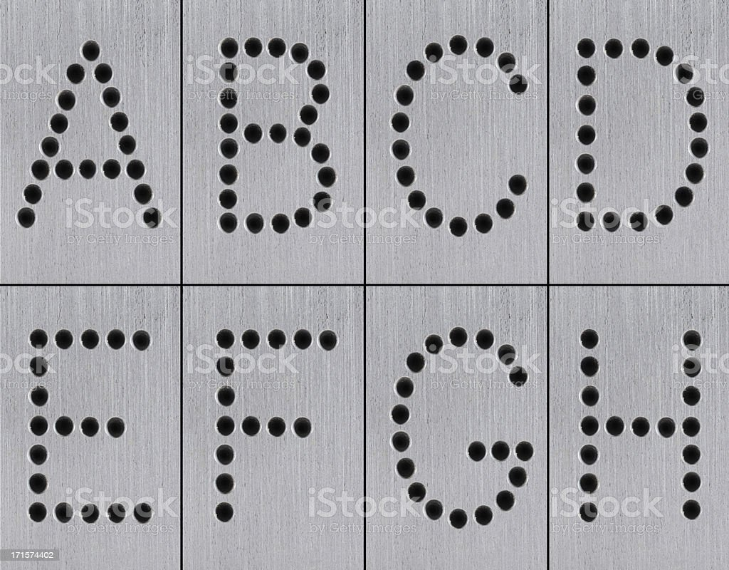 XXXL Iron Holes Alphabet royalty-free stock photo