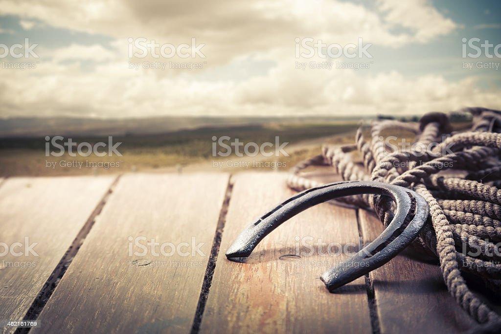 Iron horseshoe on a vintage background stock photo