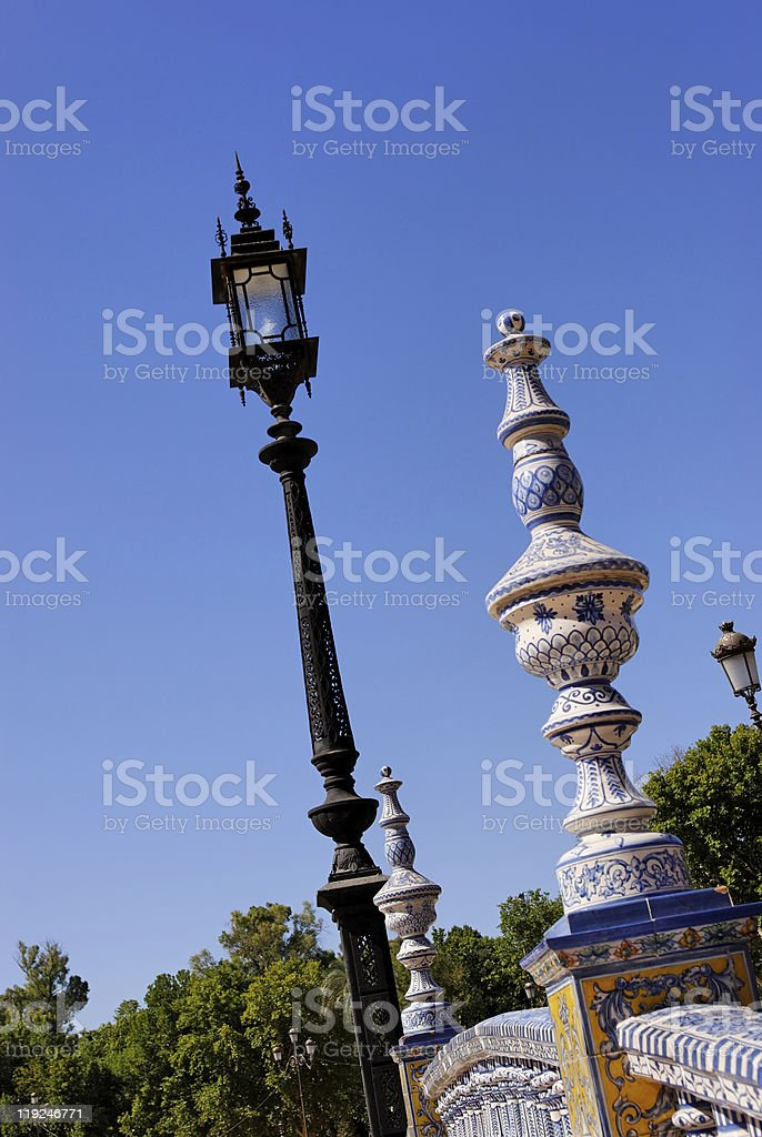 Iron Lamp and Balustrade royalty-free stock photo
