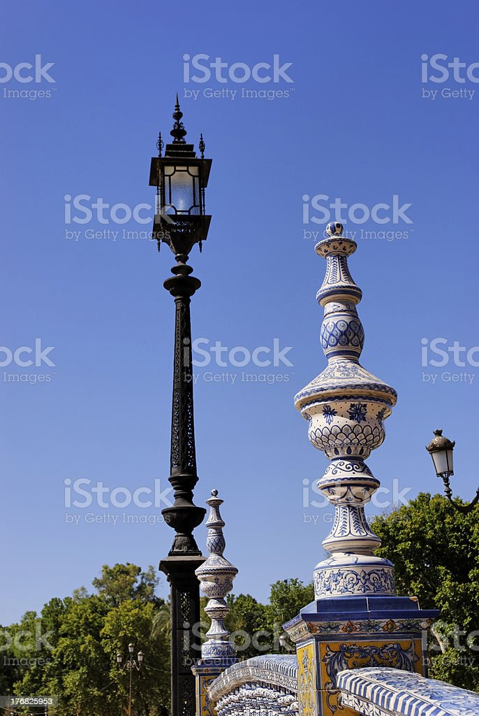 Iron Lamp and Balustrade royalty-free stock photo