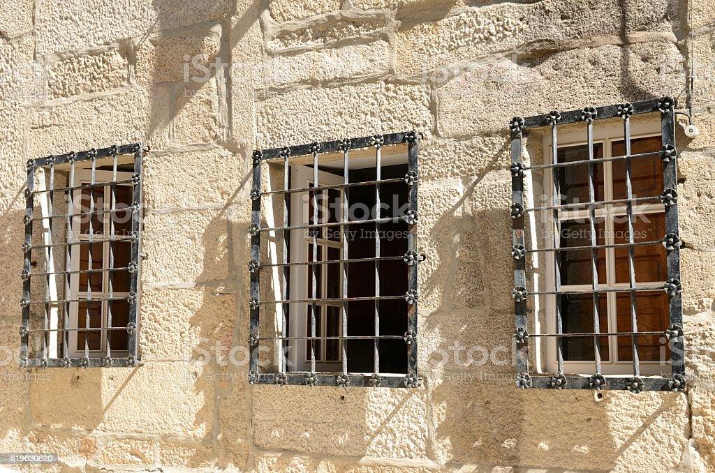Iron latticed windows stock photo