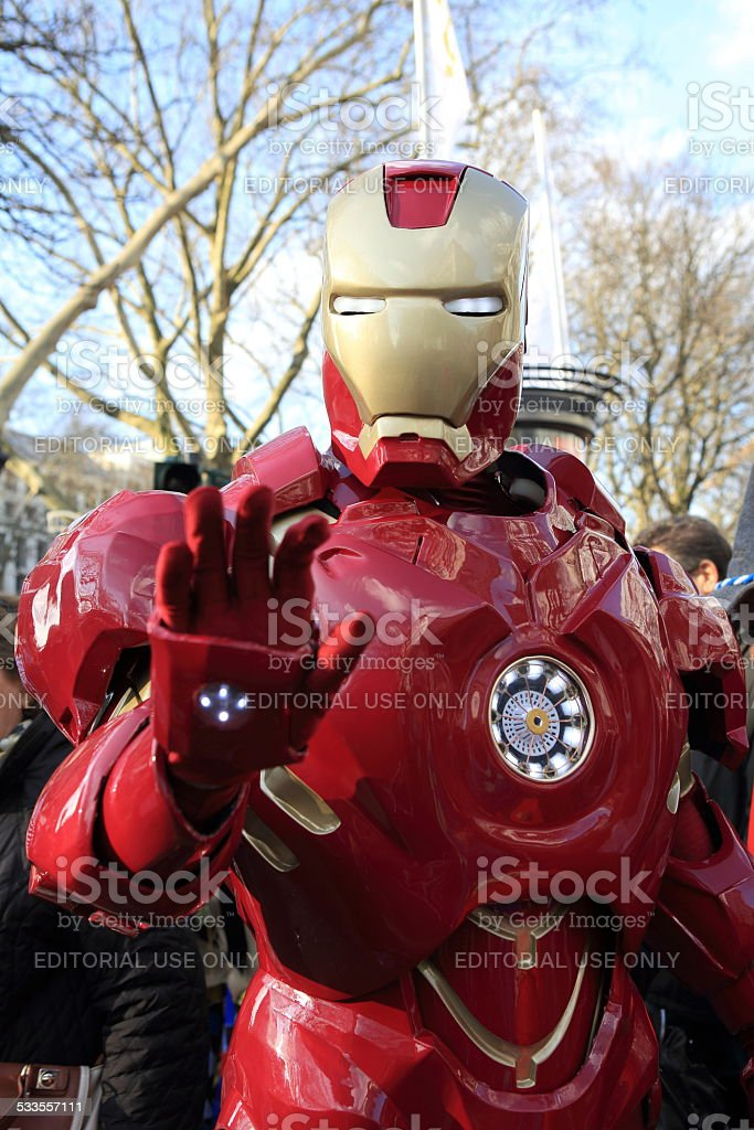 Iron Man cosplay during Dusseldorf street carnival stock photo