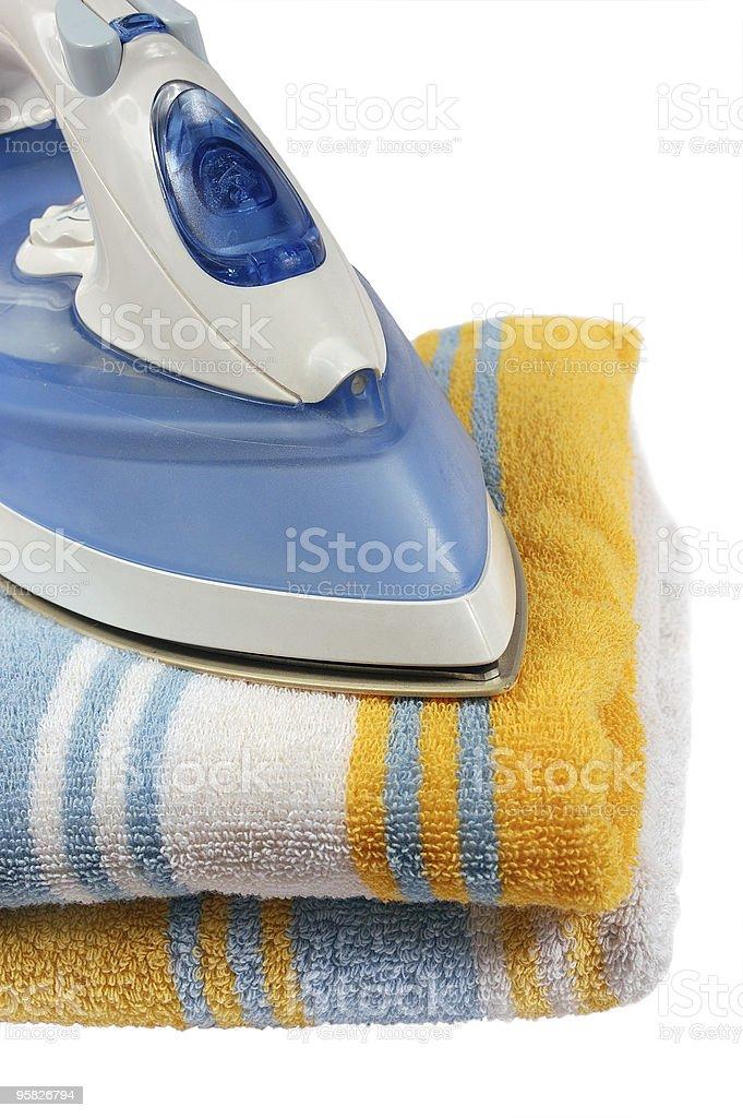 Iron on towel royalty-free stock photo