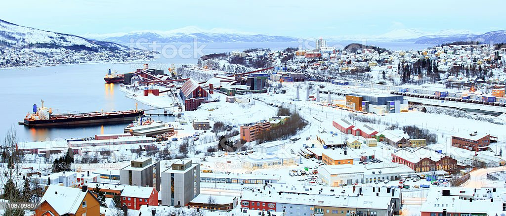 Iron Ore Mine Factory Plant in Narvik Norway stock photo
