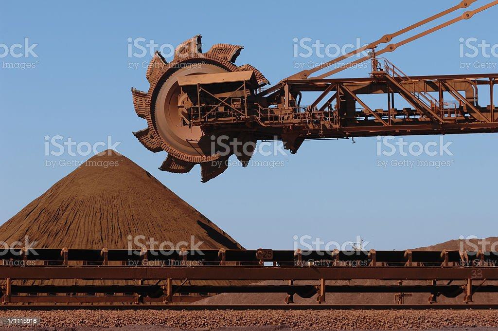 Iron Ore reclaimer machine and stockpile  stock photo