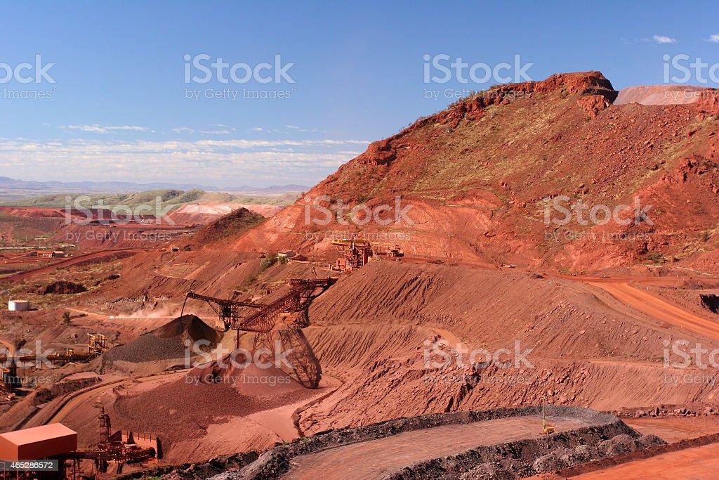 Iron Ore Truck Unloading Western Australia stock photo