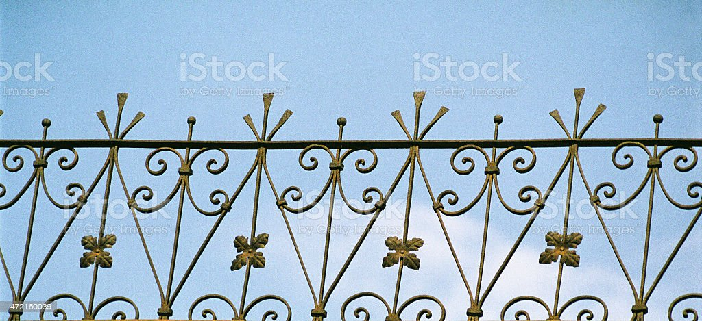 Iron parapet above the cornice of  building. royalty-free stock photo