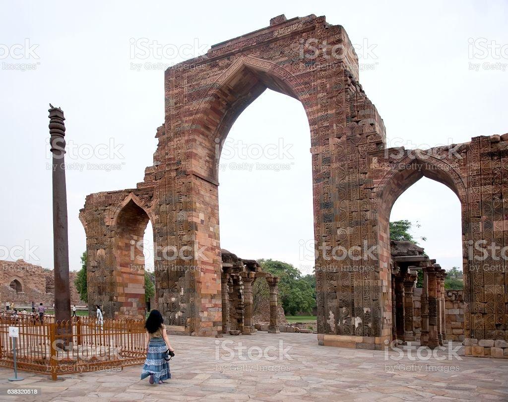 Iron Pillar at Qutub Minar in Delhi, India stock photo