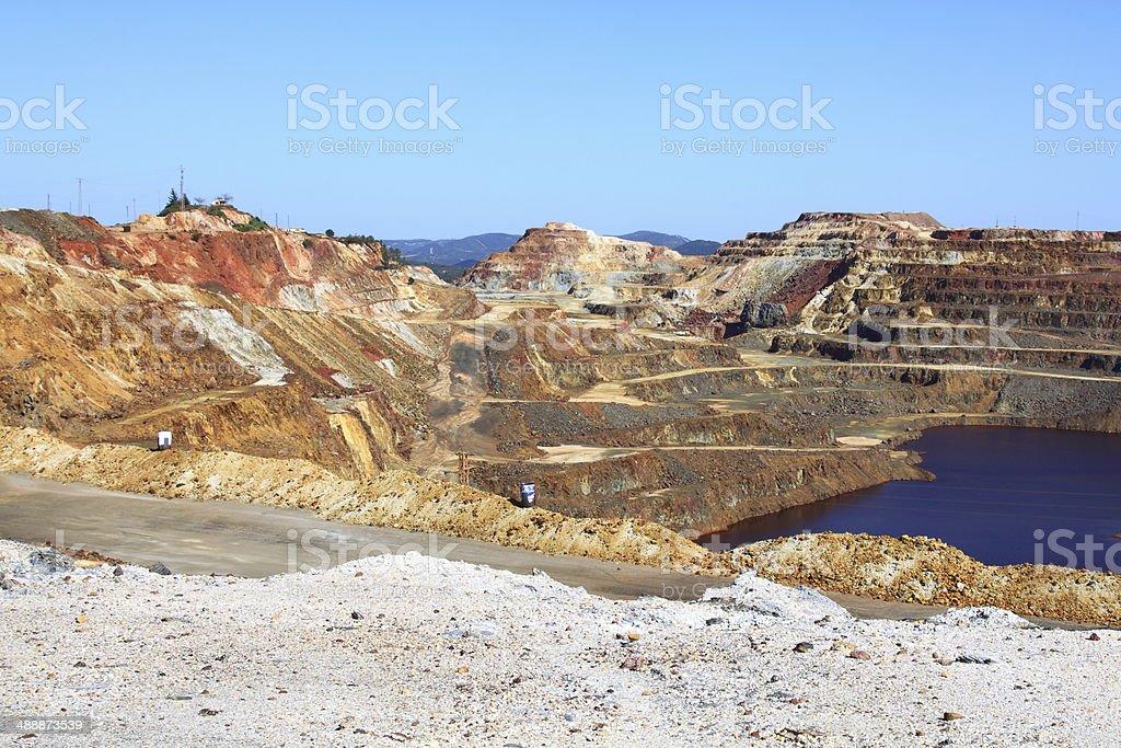 Iron pyrite, Corta Atalaya, the largest open pit mine stock photo