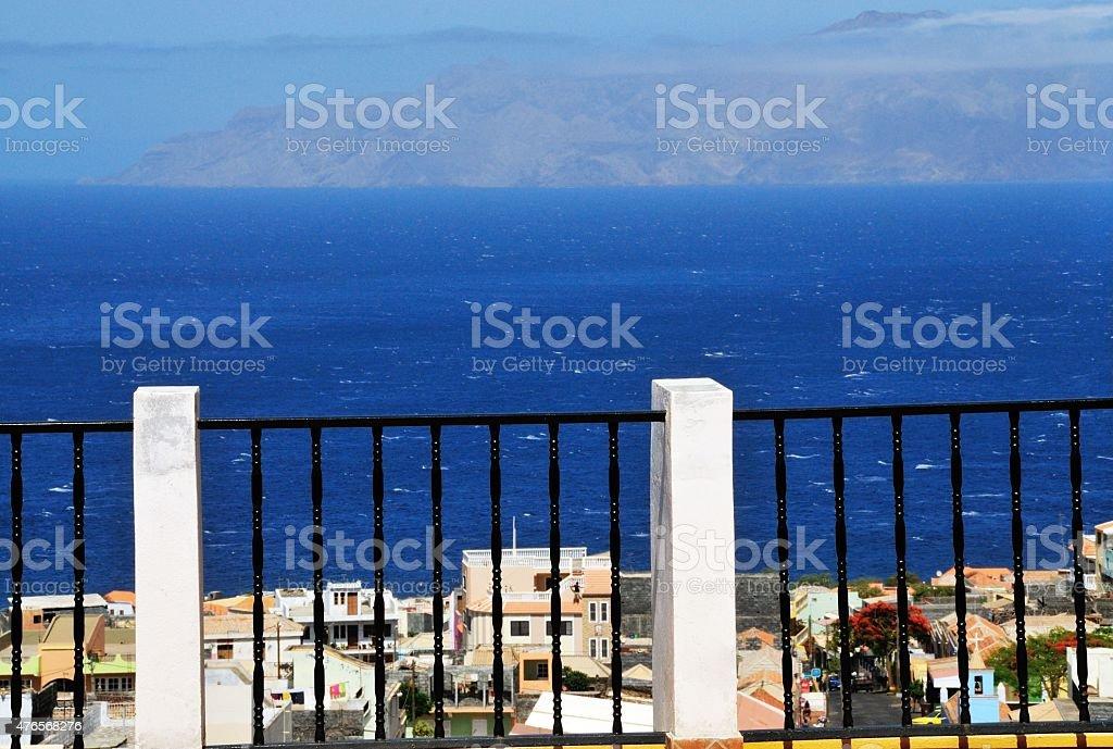 Iron railings over Santa Filomena stock photo