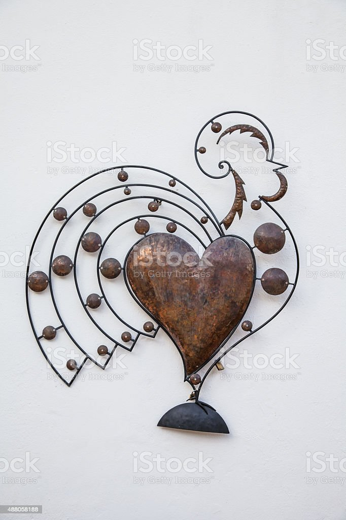 Iron Rooster in Portugal, decoration stock photo