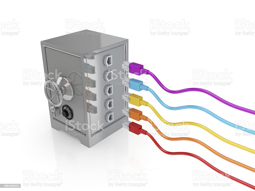 Iron safe and colorful patchcords. royalty-free stock photo