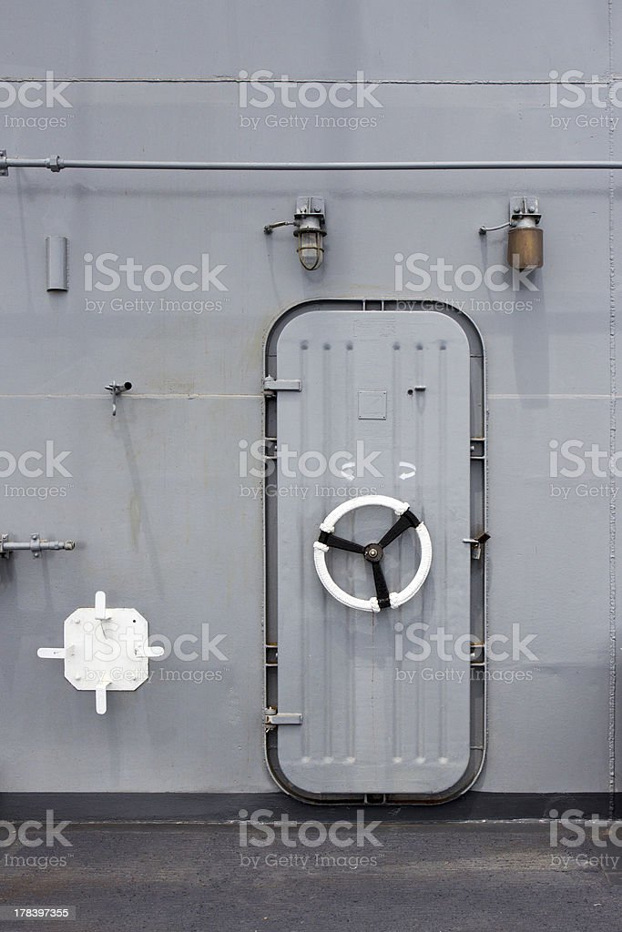 Iron ship door with  lock wheel stock photo