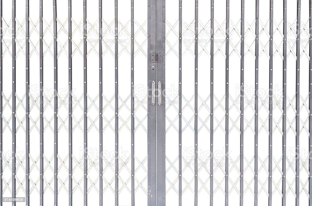 Iron shutter door isolated on white background stock photo