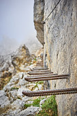 Iron stairway up the mountains