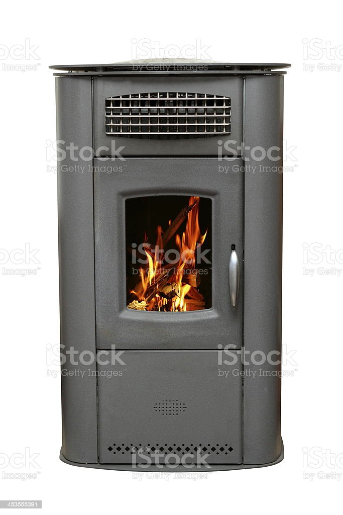iron stove with burning fire stock photo