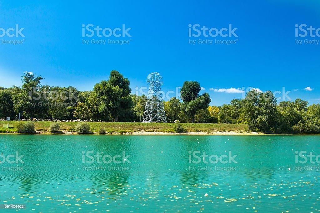 Iron tower on Jarun lake in Zagreb, Croatia, summer day stock photo