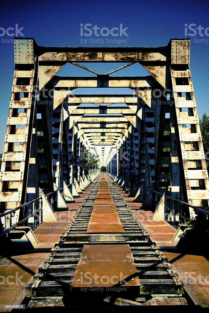 iron train bridge stock photo