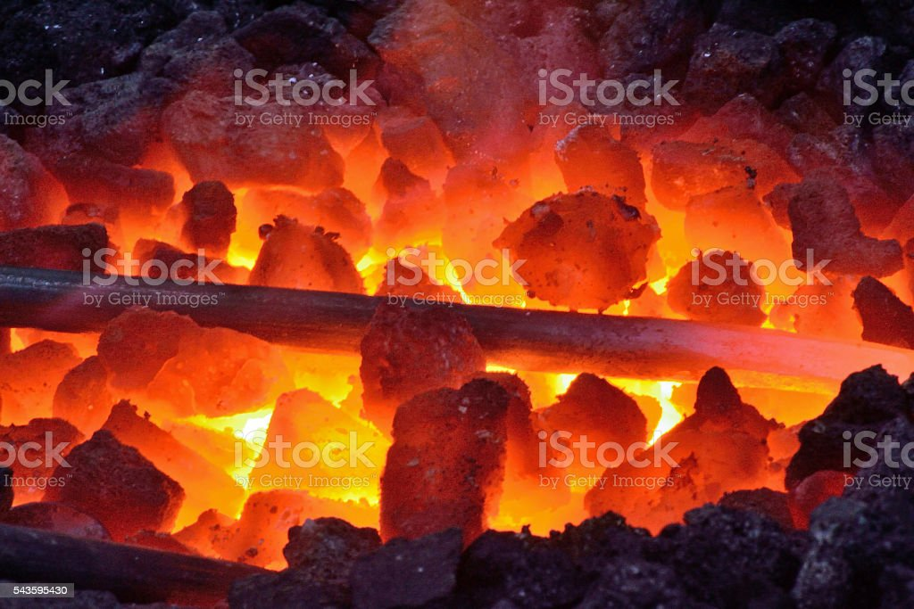 Iron warmed to the red stock photo