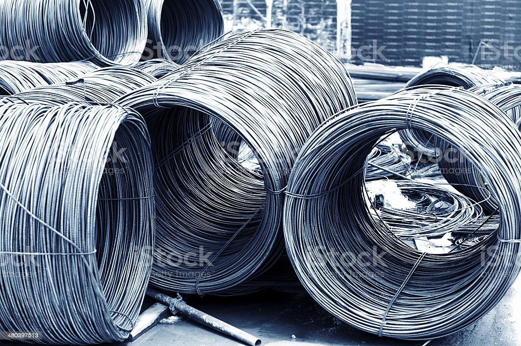 iron wires under the sky for construction stock photo
