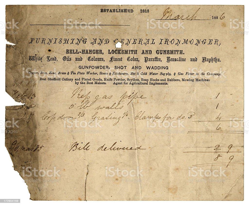 Ironmonger's bill 1886 stock photo
