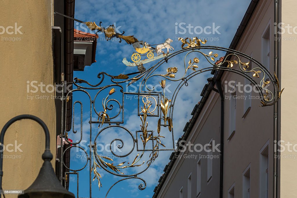 Ironwork of a Thurn and Taxis horse buggy stock photo