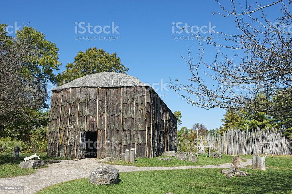 Iroquoian Longhouse stock photo