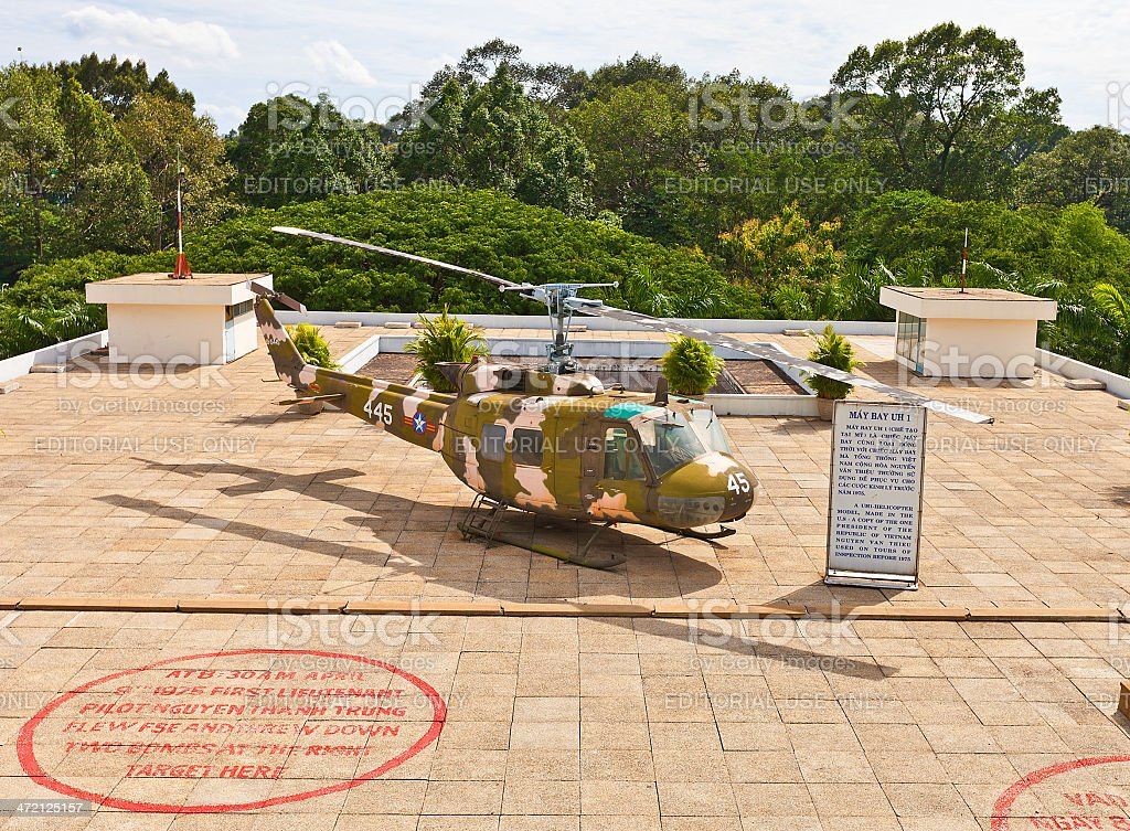 UH-1 Iroquois helicopter. Reunification Palace, Ho Chi Minh city, Vietnam stock photo