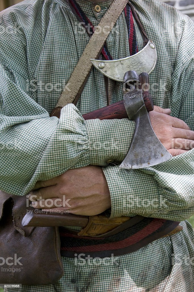 Iroquois Indian Holding a Tomahawk stock photo