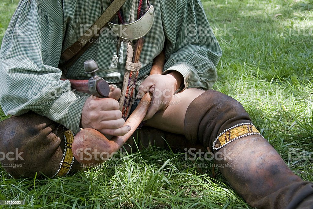 Iroquois Indian with Warclub and Tomahawk stock photo