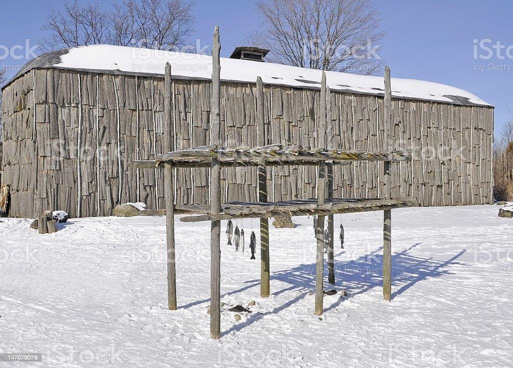 Iroquois Longhouse stock photo