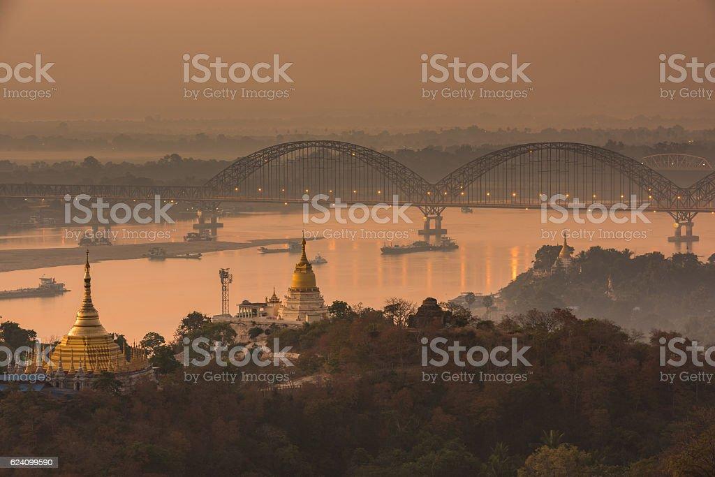 Irrawaddy Bridge stock photo