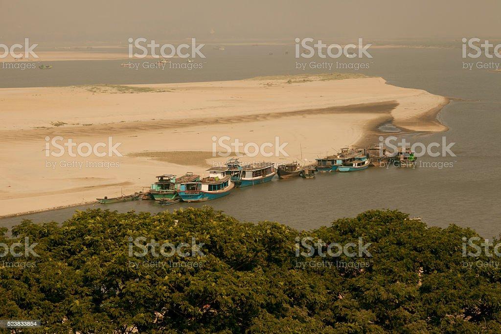 Irrawaddy River in Mandalay Myanmar stock photo