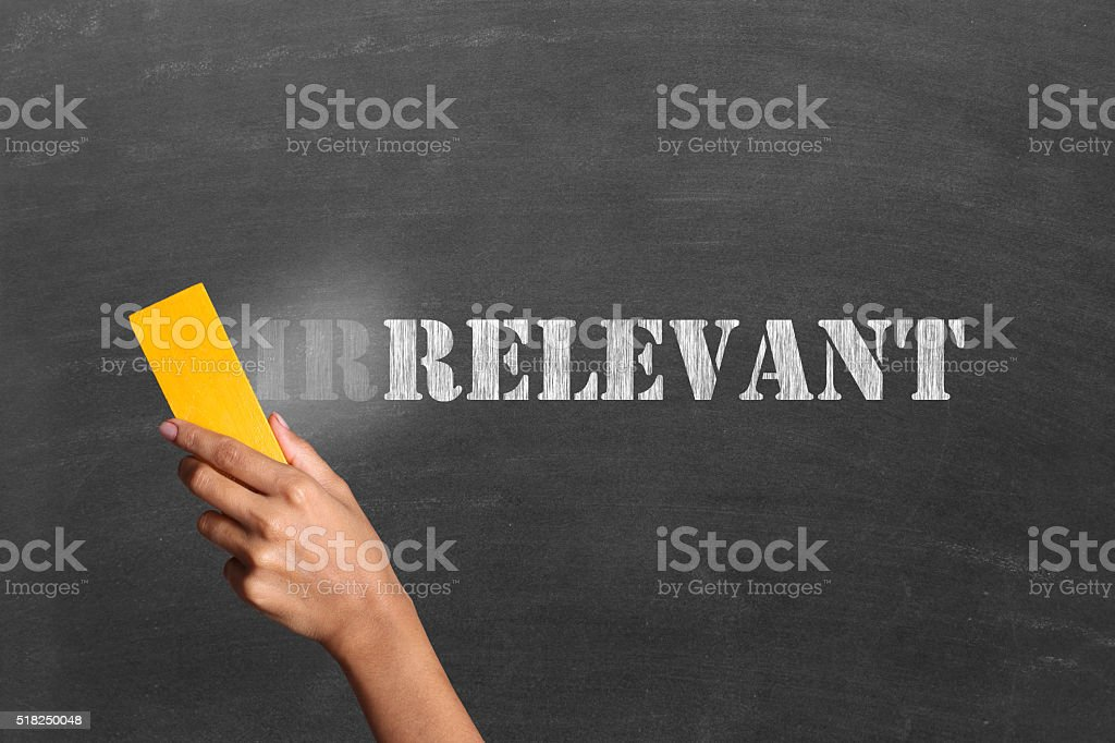 Irrelevant to relevant on blackboard stock photo