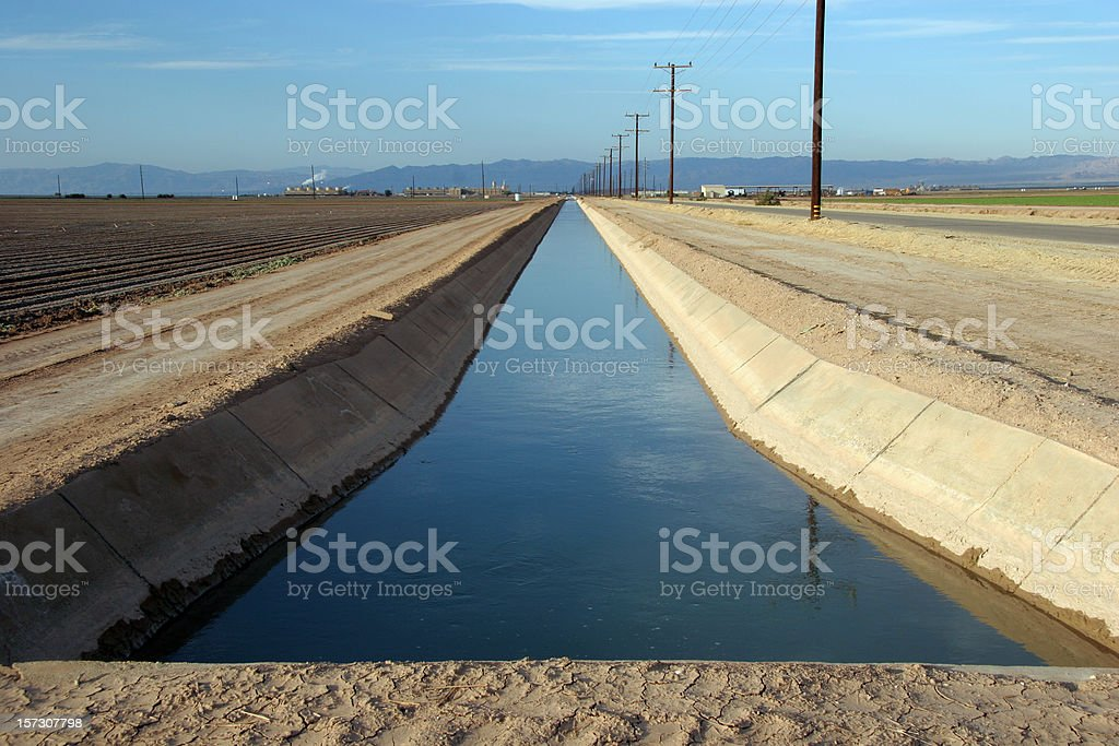 Irrigation Canal Imperial Valley stock photo