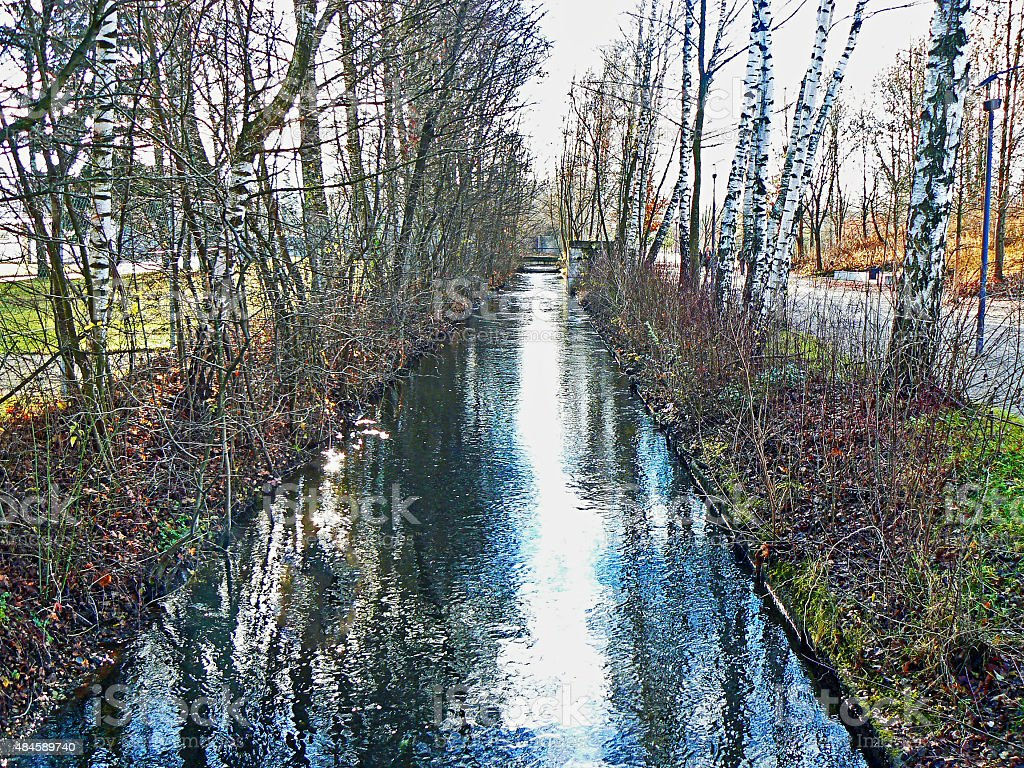 Irrigation Canal in Dachau Germany stock photo
