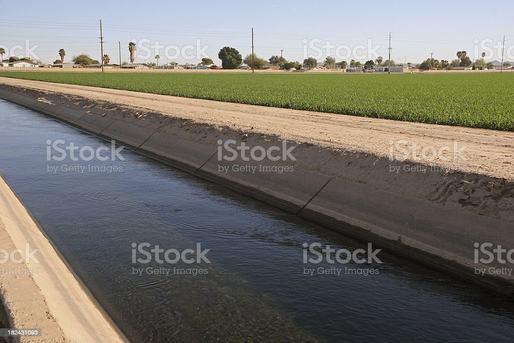 Irrigation Canal In The Desert royalty-free stock photo