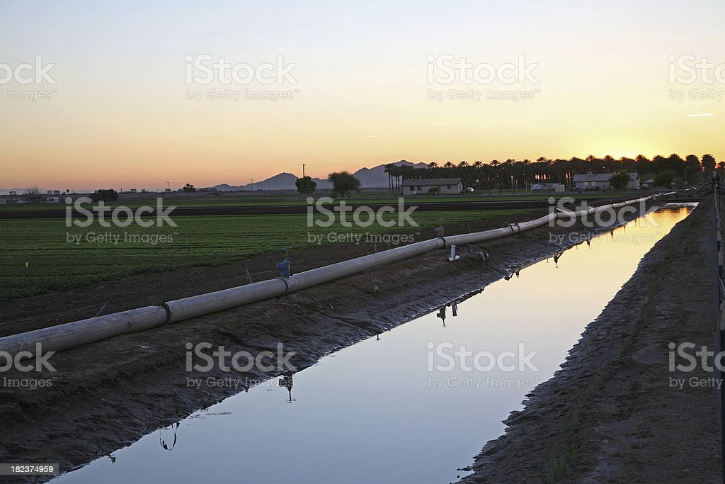 Irrigation Canal Yuma Arizona stock photo