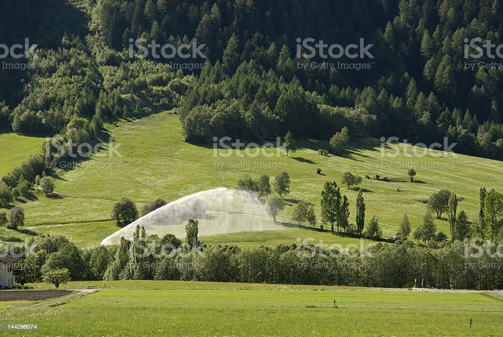 Irrigation in Switzerland royalty-free stock photo