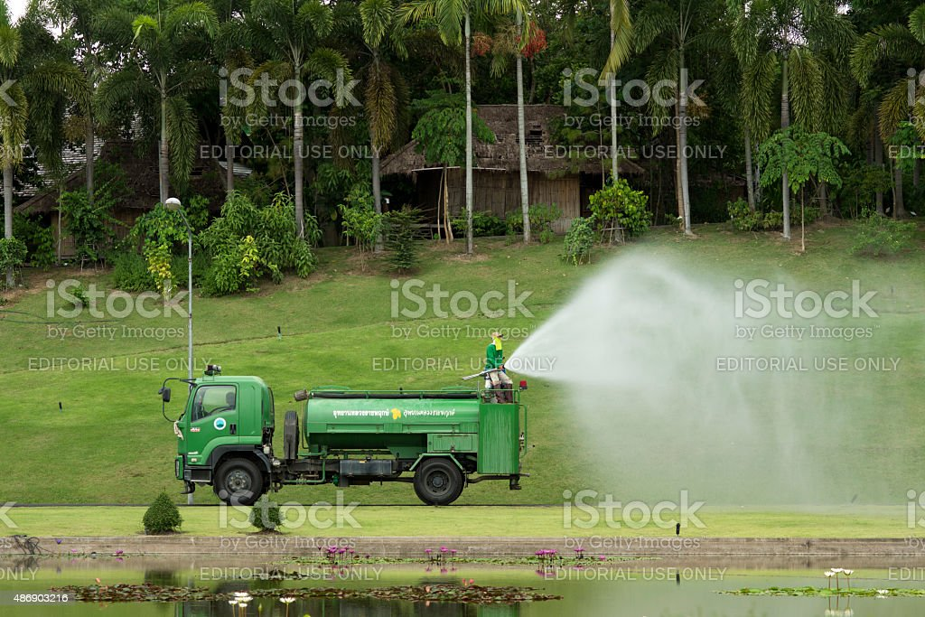 Irrigation in the park stock photo