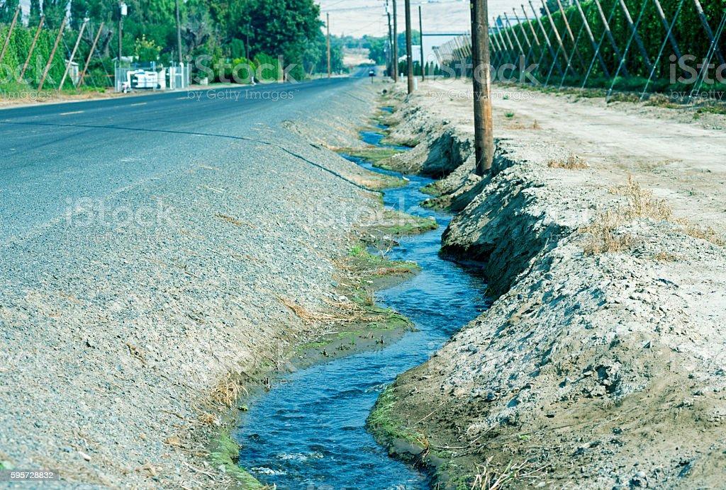 Irrigation run-off near hops' fields in Yakma Valley WA stock photo
