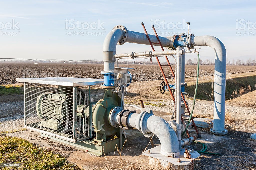 Irrigation water pumping system stock photo