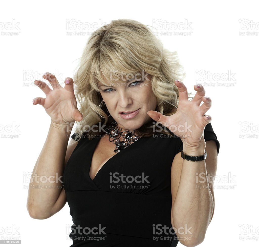 Irritated Blond Woman stock photo