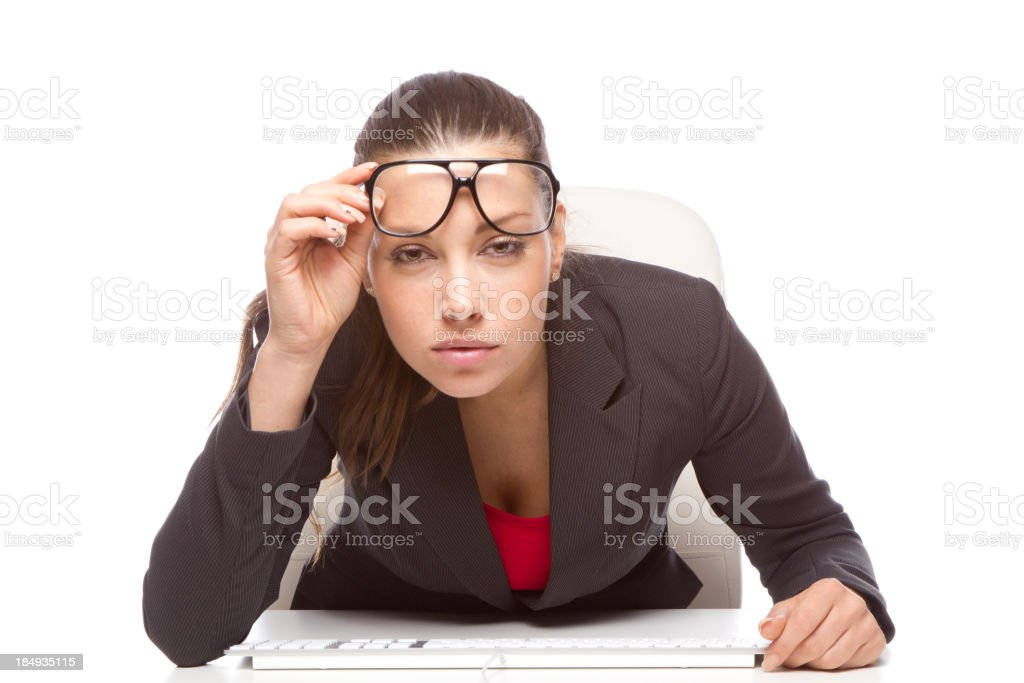 Irritated eyes and computer royalty-free stock photo