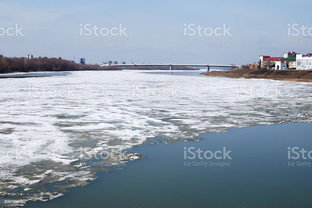 Irtysh River in early spring, the city of Omsk stock photo
