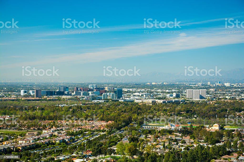 Irvine and Greater Orange County skyline aerial stock photo