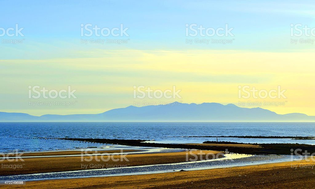 Irvine Beach and the Isle of Arran stock photo