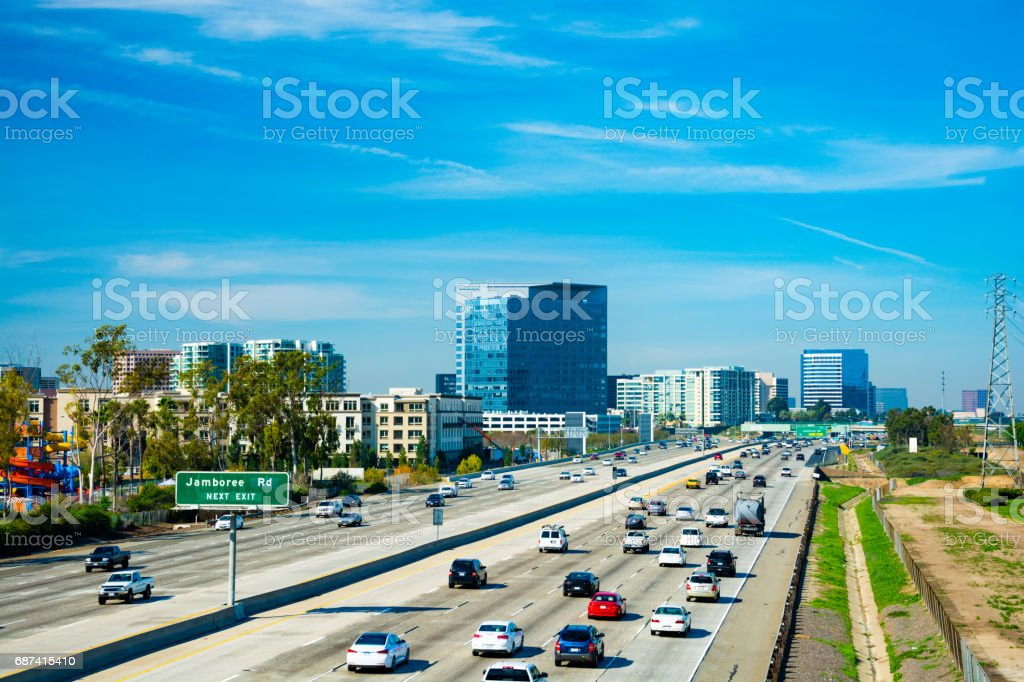 Irvine Business Complex Skyline and the 405 Freeway stock photo
